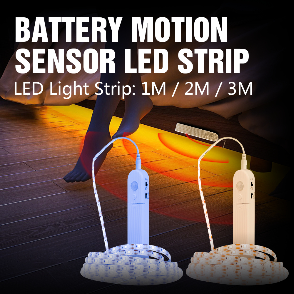 PIR Motion Sensor LED Strip Light Indoor Flexiable Adhesive Lamp Tape For Closet Stairs Kitchen Cabinet Smart Turn ON OFF 2835