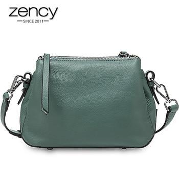 Zency Simple Style Women Shoulder Bag 100% Genuine Leather High Quality Lady Crossbody Black Grey Fashion Tote Handbag - discount item  50% OFF Women's Handbags