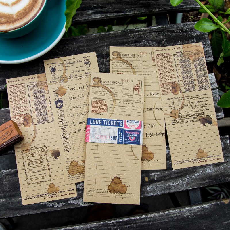 50 pcs Coffee Long Tickets Kraft Paper Note Paper Retro Memory Message Notepad Bullet Journaling Accessories DIY Material Paper