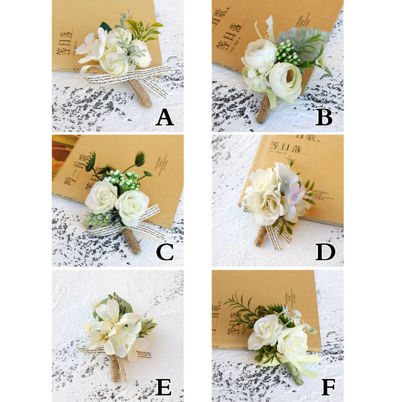 ブートニエールシルクバラ白結婚式のコサージュと Boutonnieres 新郎花造花コサージュローズブローチピン