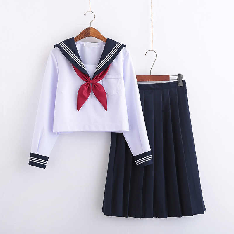 学校女の子のためのホワイトネクタイ長袖海軍セーラースーツ大型 S-5XL アニメフォーム高校 jk 制服