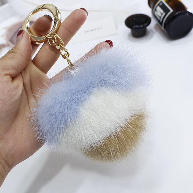 Mink fur color matching love heart doll pendant cute bag pendant car decoration key chain ornament