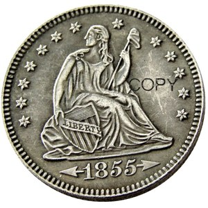 USA 1855 1855-O 1855-S Seated Liberty Quarter Dollars Different Mint Silver Plated 25 Cents Copy Coin(China)
