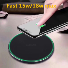 Fast 15W/18W Qi Wireless Charger For iPhone 8 X XR XS Max QC3.0 Wireless Charging for Samsung S9 S8 Note 8 9 S7 USB Charger Pad