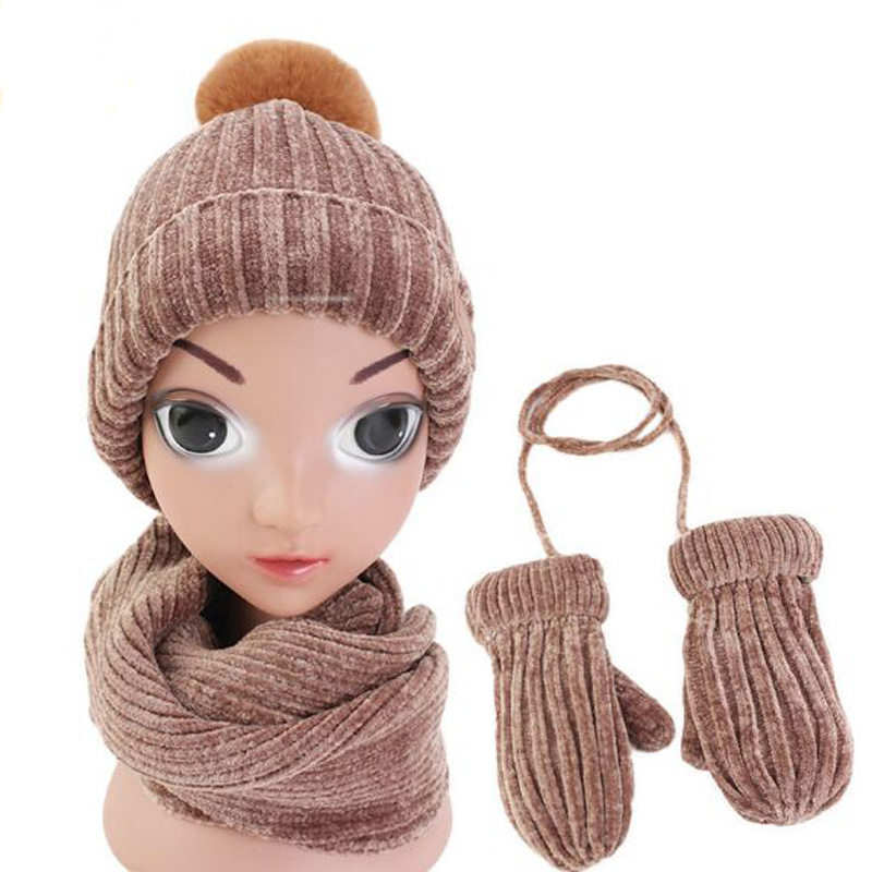 XEONGKVI Korean Chenille Woolen Yarn Ball Knitted Cap Scarf Gloves Set Winter Warm Add Plush Three-piece Suit Hat For Boy Girl