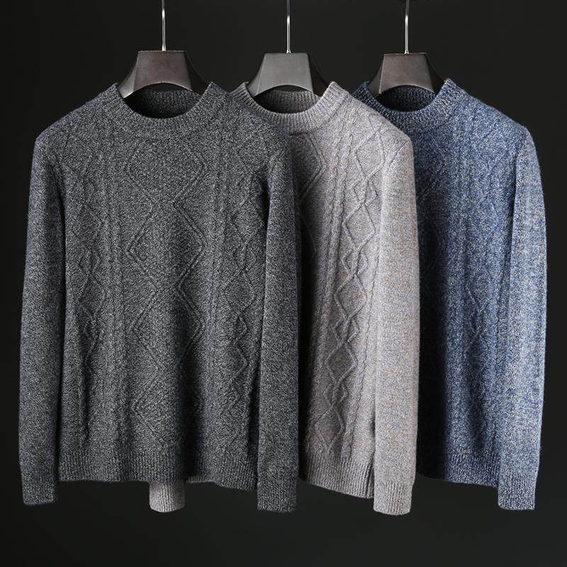JSBD Winter Thickened Anti-cold Warm Warm Pure Wool Base Button Knit Sweater Men Slim Round Neck Wool Sweater