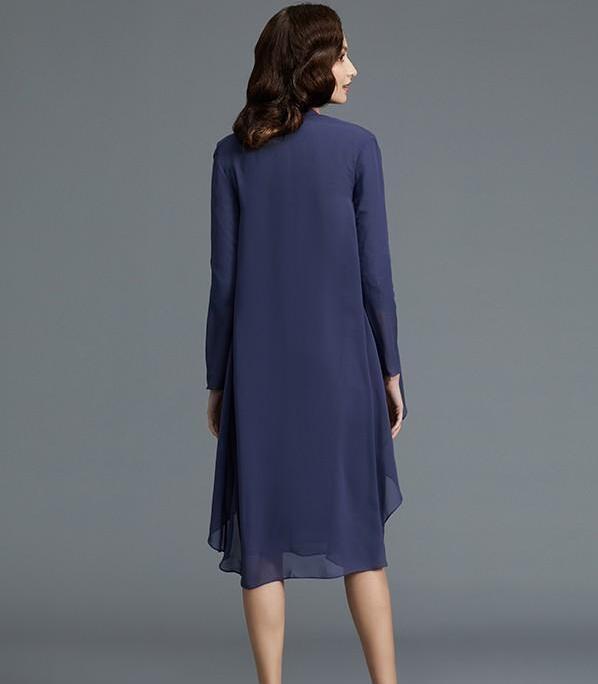 Robe mère de mariée en mousseline de soie sur mesure avec plis à col carré longueur genoux robe de soirée de bal avec veste 2020 pas cher - 2