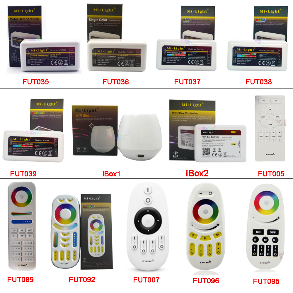 2.4G Wireless Remote Single Color Color Temperature RGB RGBW RGBWW RGB+CCT Led Strip Controller WiFi IBox Smart Light MiBOXER