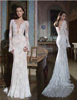 2015 Bride Dresses Sexy Mermaid Deep V-neck Long Sleeves Custom Made Backless Vintage Wedding Dress With Lace Appliques