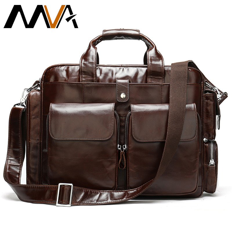 MVA Bag men's briefcase/Genuine Leather laptop bag Leather office bags for men briefcase laptop business tote for document 8920 image