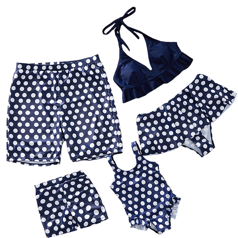 2020 New Family Matching Swimsuit Mother Daughter Swimwear Bikini Beachwear Swimming Trunks Men Baby Boys Bathing Suit