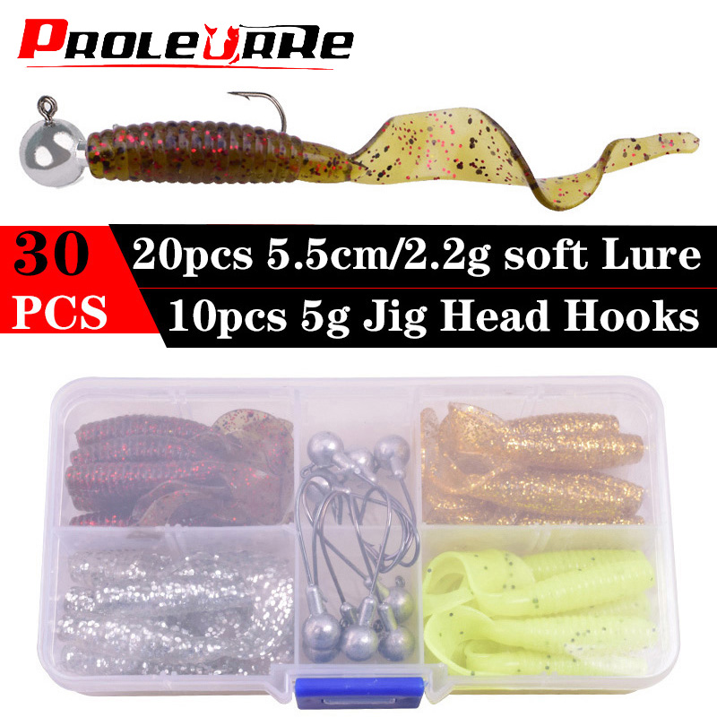 30pcs/lot Strong Fishy Smell Artificial Soft Lures set Shad Silicone Fishing Worms Bait Set Easy Shiner Lure Kit
