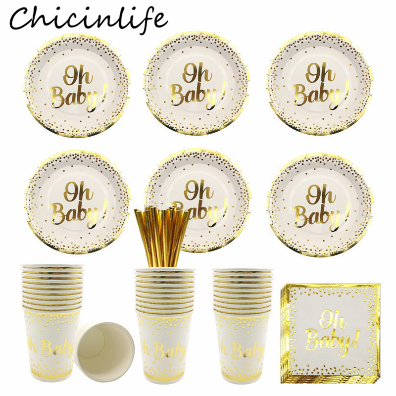 Chicinlife Gold Disposable Tableware Oh Baby Paper Plates Cups Napkins Birthday Party Cutlery Baby Shower Gender Reveal Supplies