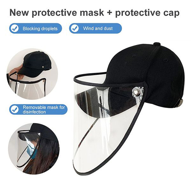 Protective Cap Face Shield Full Face Covering Mask With Hat Anti Droplets Saliva Dustproof Fisherman Hats Sport Cap Protection