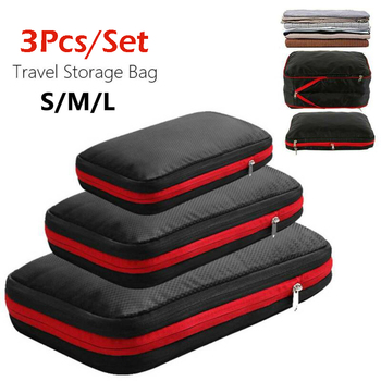 3Pcs/Set Travel Luggage Waterproof Organizer Storage Bags Double-layer Design Compression Suitcase High Quality Packing Cubes