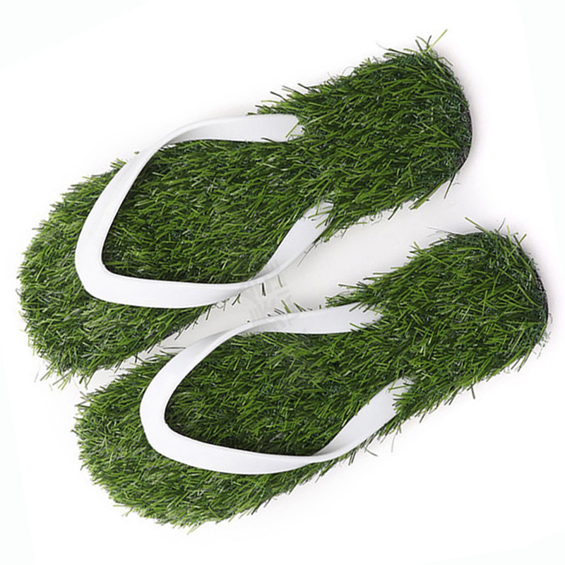 Beach Shoes Men Women 2019 Summer Fashion Simulation Personality Grass Slippers Couple Models Outdoor Sand Lawn Flip-flops Men