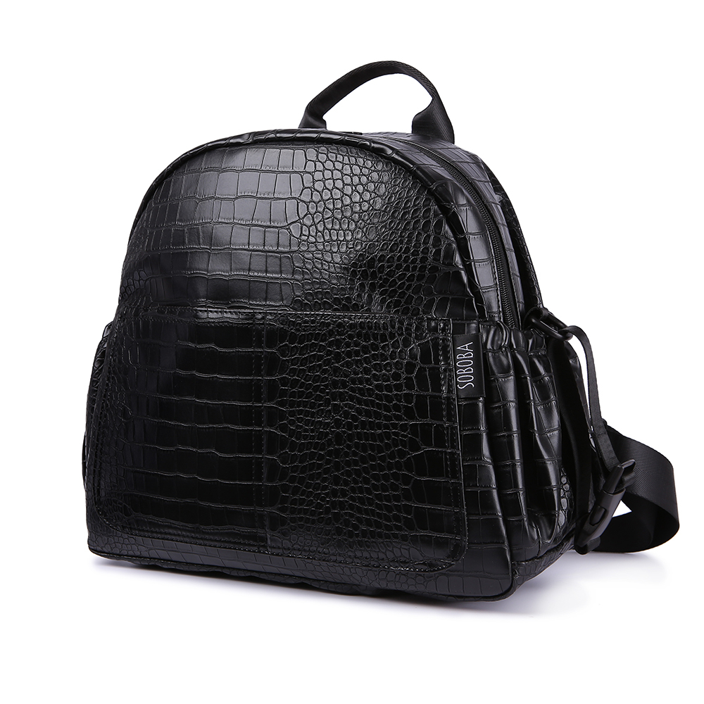 Waterproof Diaper Backpack For Mother Black Stone Pattern Large Capacity Nappy Bag For Newborn Baby Travelling Changing Backpack