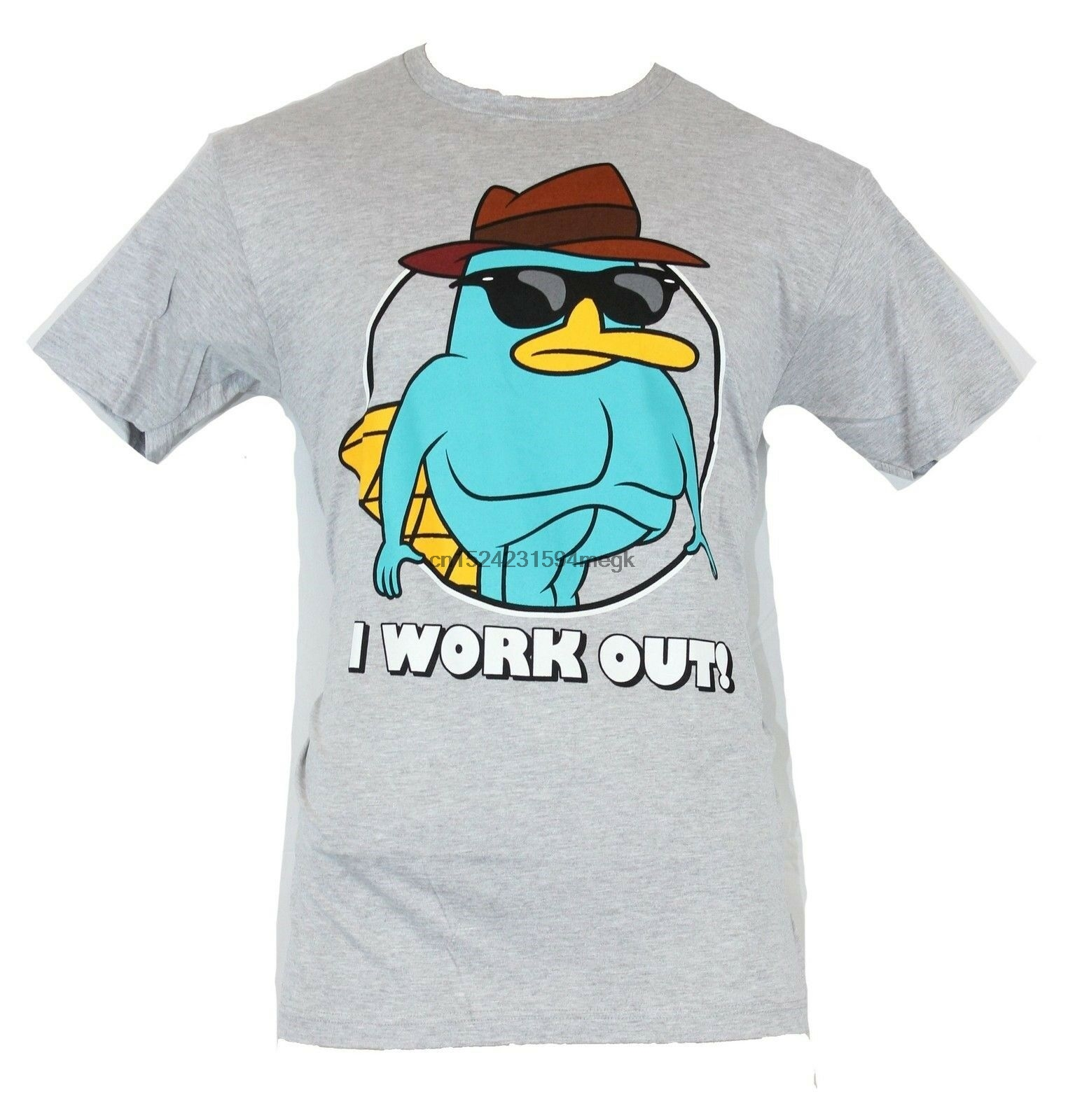 Phineas and Ferb Mens T-Shirt - I Work Out! Buffed Up Perry Agent P Image(China)