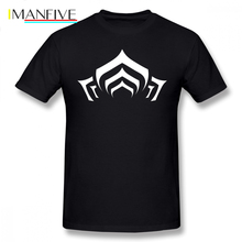 Warframe T Shirt Lotus Symbol White T-Shirt Print 100 Percent Cotton Tee Mens Beach 5x Short Sleeves Fun Tshirt