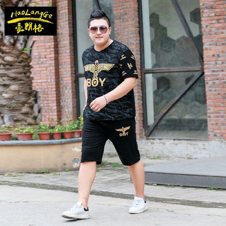 2019 New Style Plus-sized Short Sleeve T-shirt Set Casual Sports Trend Pants Lard-bucket Two-Piece Set Summer Wear