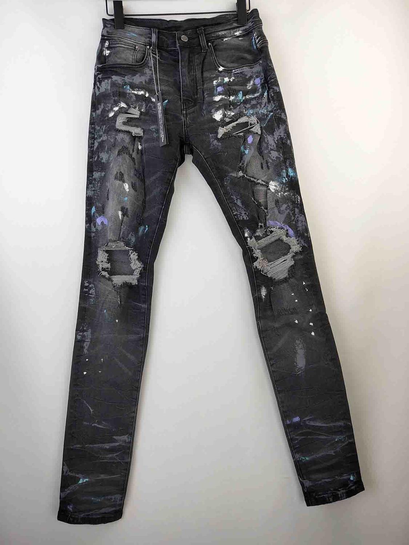 Men Stretchy Skinny Grey Random Paints Splatter Distressed Jeans Broken Denim Pants