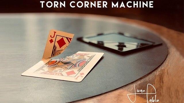 Torn Corner Machine (TCM) by Juan Pablo Torn Card Gimmick Card Magic Tricks Props Illusions Close up Restore Magician Deck