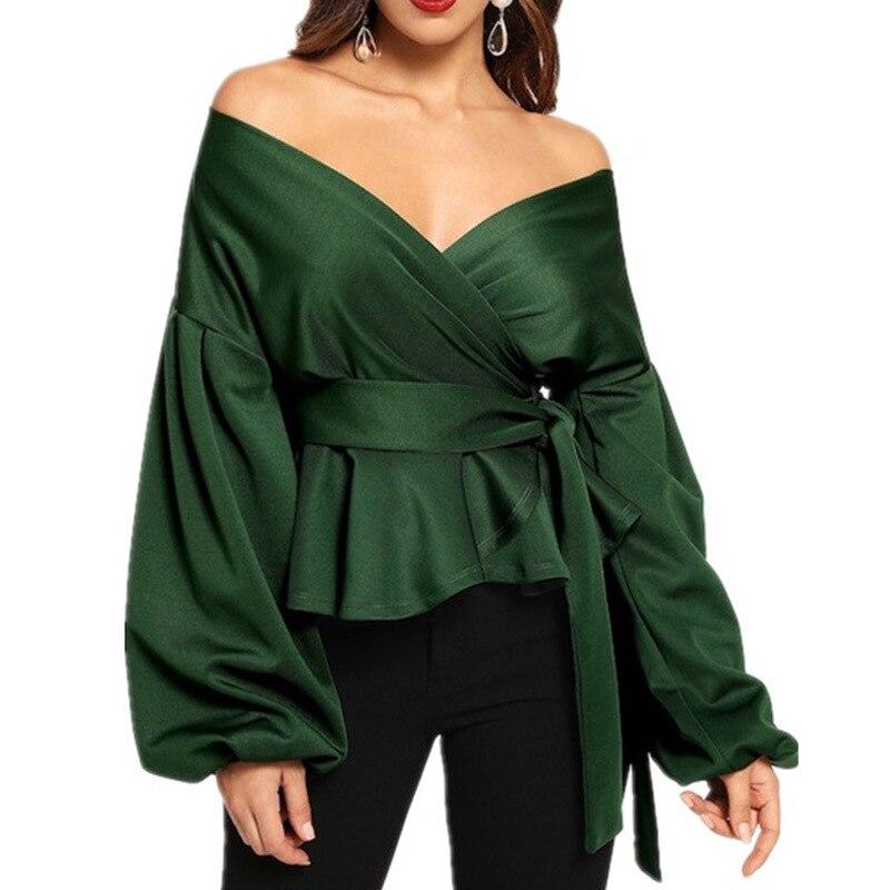 Fashion Women Long Sleeve BlouseCasual  Up Shirts Elegant Asymmetric Tops Sexy strapless lantern sleeve top bow  waist shirt 6