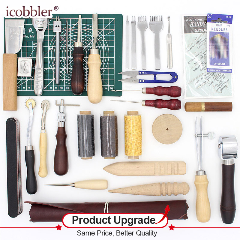 32 Pcs/Lot Leathercraft Tools for Working Hand Leather Tool Set Edge Beveler Groover Processing Tool,Free Gifts Exercise Leather