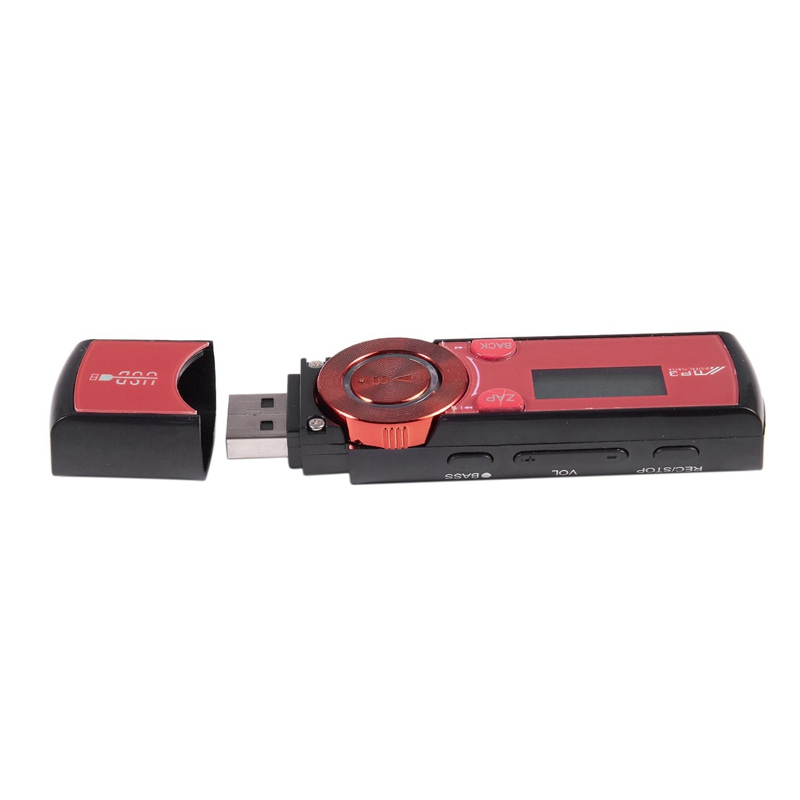 LCD USB MP3 Player FM Radio Player Support 16GB Micro SD / TF Card With Headphones Red