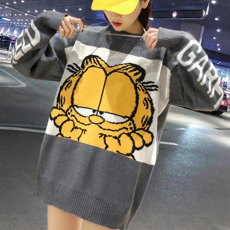 New Korean Garfield Women Sweater Cartoon Cute Loose Pullover Autumn Winter Fashion Girl Clothes Tops Female Knit Sweater 2019