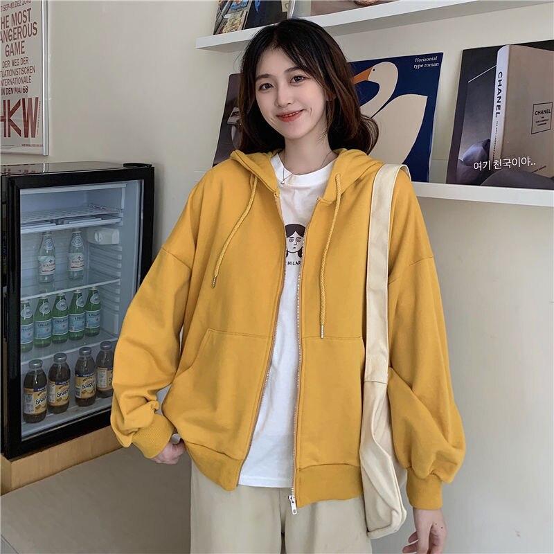 Summer 2021 Fashion Zip Up Cute Bear Sweetshirt Vintage Long Sleeve Spring Clothes Women Hoodies Coat Loose Harajuku Tops 9