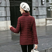 New Cotton coat Women Short Stand Collar Large Size Slim Thin Down Cotton Padded Light Korean Warm Fashion Jacket Outwear f1609