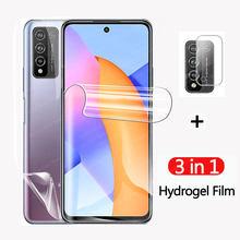 3 em 1 filme de hidrogel para honra 10x lite 9s 9a lente traseira protetor de tela para huawei huawey y5p y6p y8p luz filme não vidro