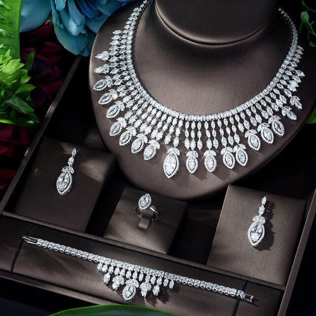 HIBRIDE جديد كامل AAA زركون الكبير Pendientes طقم مجوهرات للنساء الزفاف اكسسوارات الزفاف بارور بيجو فام N 1151