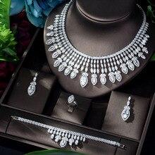 HIBRIDE Nieuwe Volledige AAA Zirconia Big Pendientes Sieraden Set voor Vrouwen Bridal Wedding Accessoires parure bijoux femme N 1151