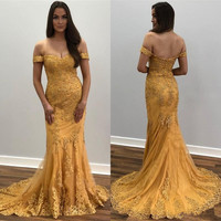 Sexy mermaid Prom Dress 2020 with Gold Lace Appliques Off Shoulder Backless Custom Made Formal Party Gowns Longo