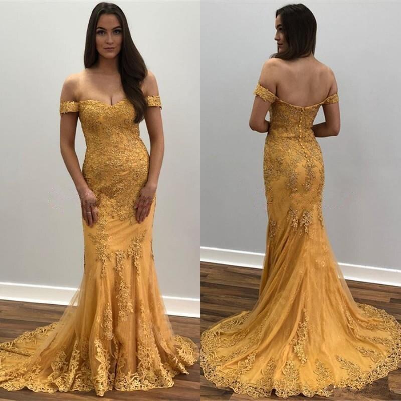 Sexy robe de bal sirène 2020 avec dentelle or Appliques hors épaule dos nu sur mesure robes de soirée formelles Longo