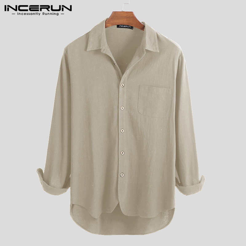 INCERUN Vintage Men Shirt Long Sleeve Solid Button Harajuku Camisa Breathable Chic Cotton Linen Casual Brand Shirt Men Plus Size