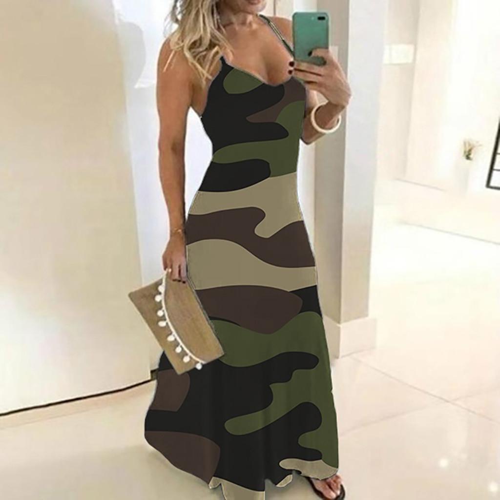 40# Women's Dresses Ladies Plus Size Camouflage Print Sleeveless V collar Dress Women Bohemian Casual Beach Maxi Dress платье