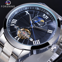 Forsining Men Automatic Mechanical Watch Tourbillon Moon Phase Black Business Sport Stainless Steel Strap Watches Steampunk Gift все цены