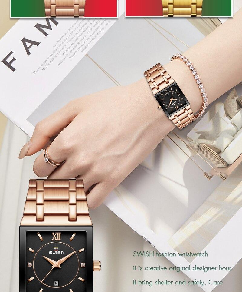 quadrado relógio de quartzo feminino pulseira relógios