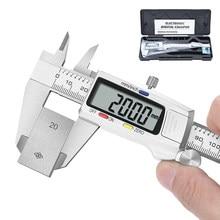 0-150mm digital vernier pinças de 6 polegadas digital caliper micrômetro instrumentos de medição de aço inoxidável pachômetro régua ferramentas