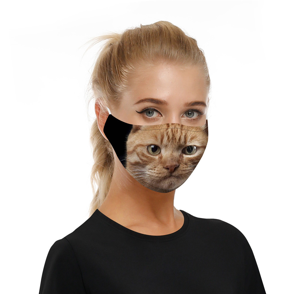 Package of 3 Cat Themed Face Masks Plus 6 Filters