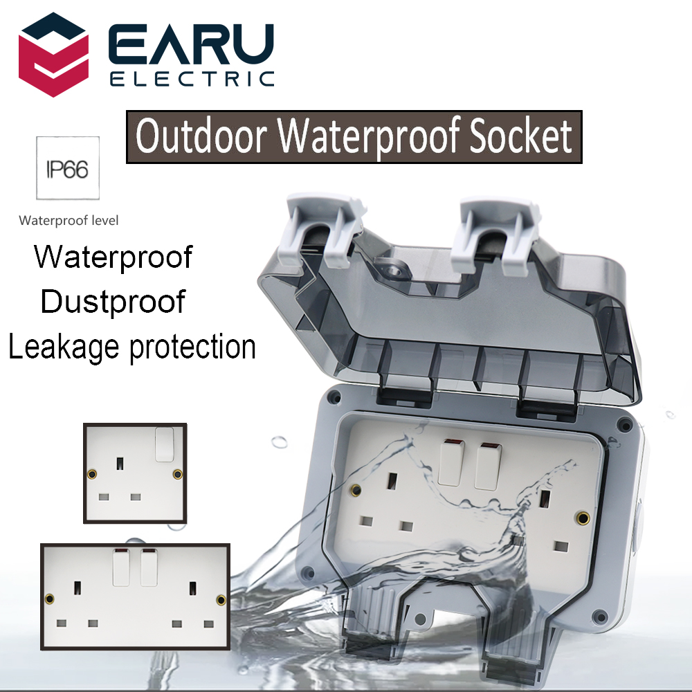 British UK Standard IP66 13A AC250V Weatherproof Waterproof Outdoor Wall Power Socket Box Electrical Outlet for Charging Pile