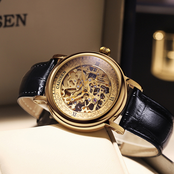 CADISEN Men Watches Top Luxury Brand Automatic Mechanical Watch 8N24 Hollow out Golden Leather Casual Business Retro Wristwatch