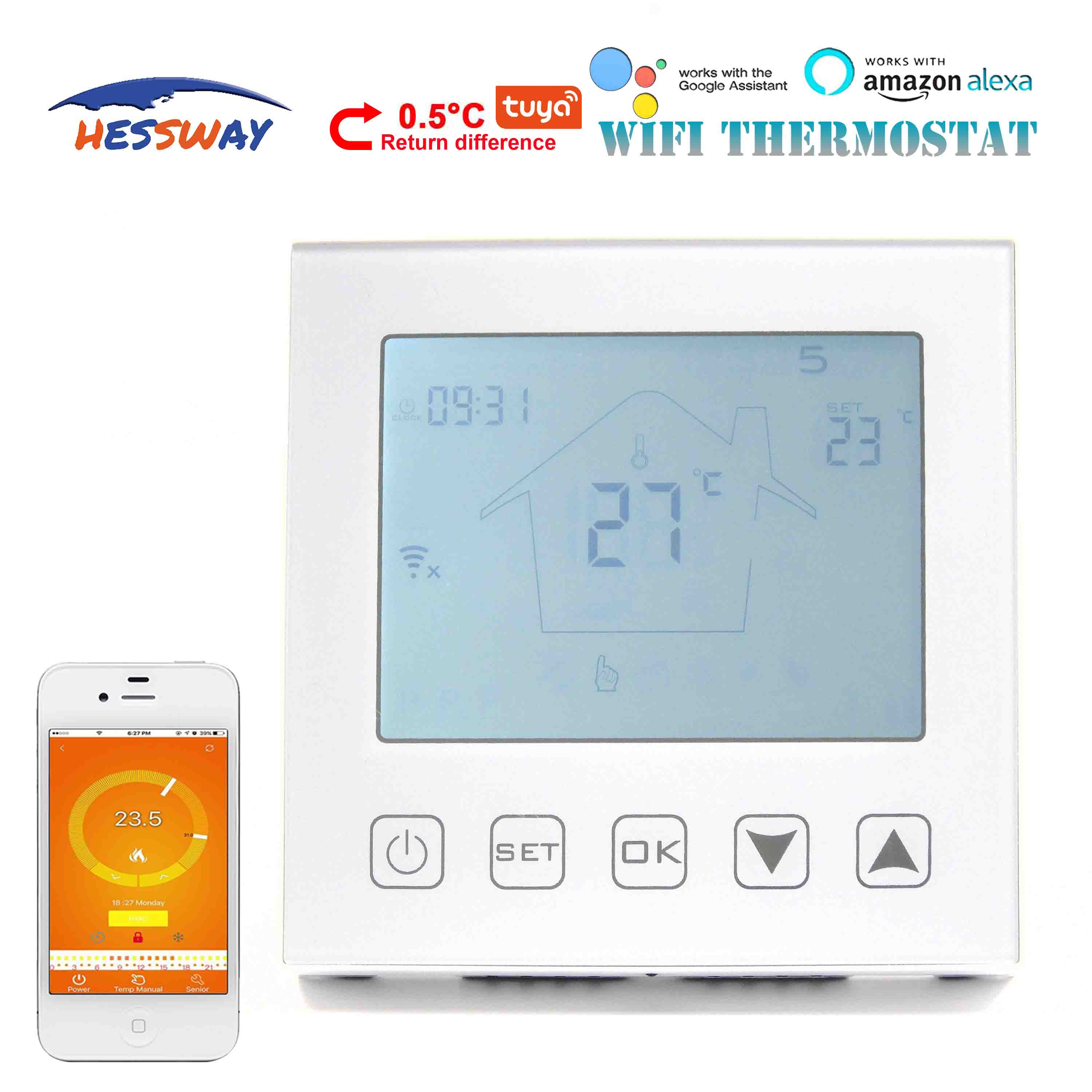 HESSWAY 3A TUYA Refrigerator Temperature Controller Wifi Thermostat For 2 In 1 Linkage Gas Boiler&Drycontact NC/NO
