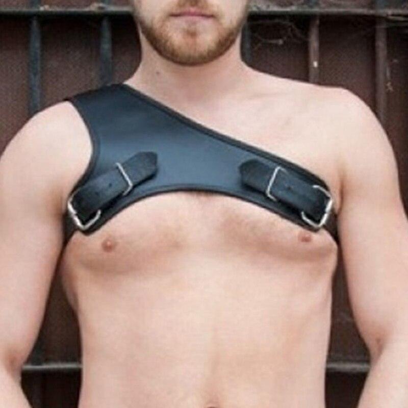 MSemis Harness Men Bondage Lingerie Gothic Gay Leather Harness Men One Shoulder Body Chest Harness Men Costume Belt