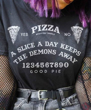 VIP HJN Women Pizza Ouija Board T-Shirt Hipsters Summer Cute Funny Tee Grunge Goth Clothing Halloween Witch Shirt