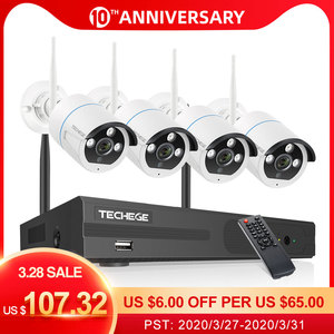 Techege Wireless CCTV System 1080P Audio Record 2MP 4CH NVR Waterproof Outdoor WIFI CCTV Camera System Video Surveillance Kit