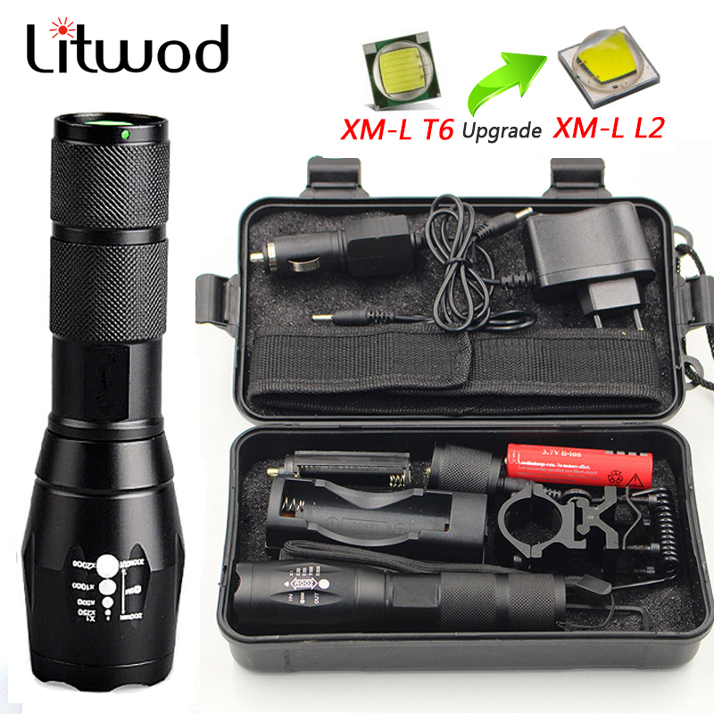 LED Rechargeable Flashlight Litwod XML T6 5 Mode Zoom Linterna Torch 8000 LM 18650 Battery Outdoor Camping Powerful Flashlight
